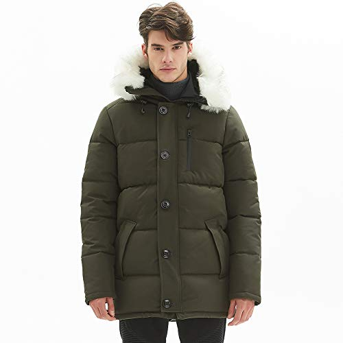 PUREMSX Men's Padded Parka for Team Long Quilted Winter Coats for Men Long Military Fashion Multi Pockets Warm Winter Windproof Overcoat Down Alternative Anorak Parka with Fur Hood,Army Green,X-Large
