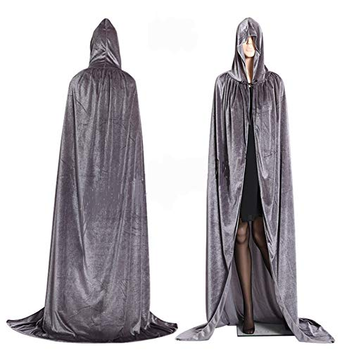 CHSYOO Capa Larga con Capucha Gris con túnica para la Fiesta de Disfraces de Halloween Bruja Vampiro Vampiro Cosplay Disfraces