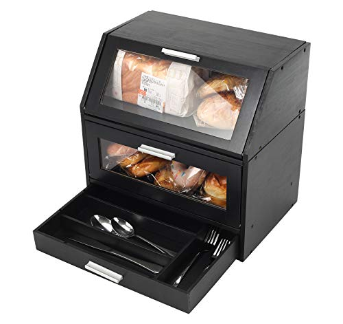 TQVAI Bamboo 2 Layer Bread Box with Clear Window Cutlery Tray Drawer Separable 2 Tier Food Storage Bin - Assembly Required, Black