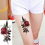 5Pcs-Red Adesivo per trasferimento di tatuaggi di moda Adesivo per tatuaggi di grandi dimensioni Adatto per uomini e donne Impermeabile rimovibile Adesivo per tatuaggi impermeabile non tossico Fa