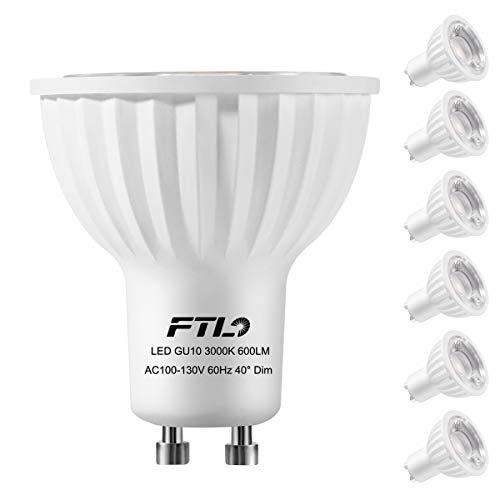 FTL GU10 LED Warmweiss Dimmbar LED Birne, 7W 600LM Ersatz für 60W Halogen Lampe, 3000K Warmweiß LED Leuchtmittel, 40 ° Ausstrahlungswinkel, AC220-240V, 6 Stück