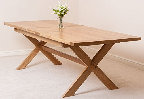 Vermont 200-240cm Large Oak Extending Dining Table for 6-8 People | Refectory Style Cross Leg Dining Table Extendable by Oak Furniture King