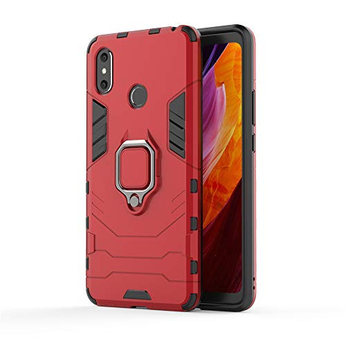 Xiaomi Mi Max 3 Funda, MHHQ 2in1 Armadura Combinación A Prueba de Choques Heavy Duty Escudo Cáscara Dura PC + TPU Silicona con Soporte Magnetic Car Mount Case Cover para Xiaomi Mi Max 3 -Red