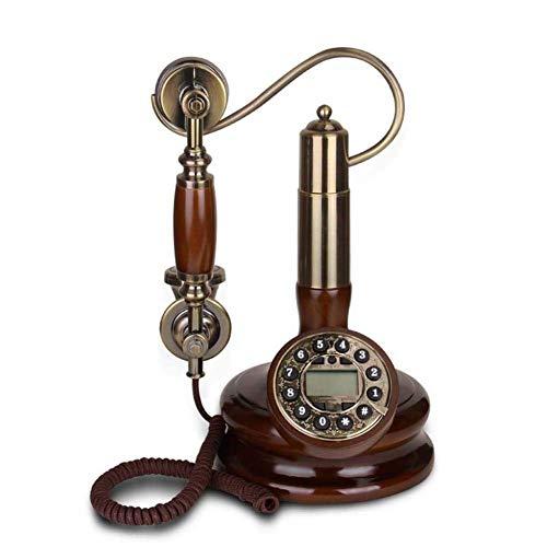 qwertyuio Teléfono Nostálgico De La Vendimia Teléfono De La Vendimia con El Cordón De Tela Ntique Que Cuelga El Teléfono Creativo Decoración del Hogar Madera Maciza Teléfono Fijo con Cable A