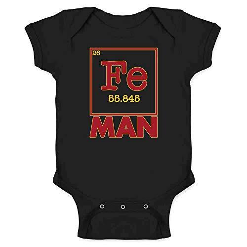 Fe Man Superhero Element Black 6M Infant Baby Boy Girl Bodysuit