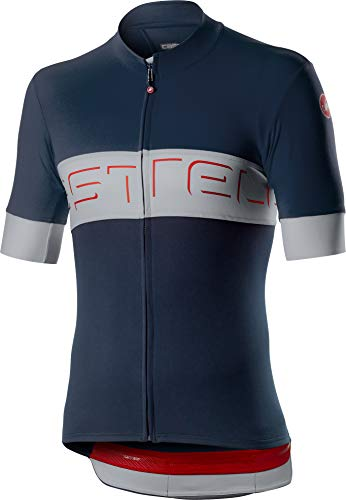 Castelli Cycling Prologo VI Jersey for Road and Gravel Biking l Cycling - Savile Blue Silver Gray - X-Large