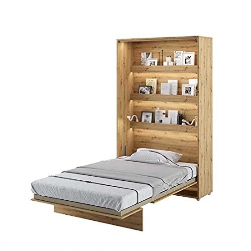 LENART Bed Concept - Cama plegable vertical (120 x 200 cm), color roble claro
