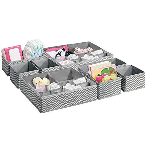 mDesign 8er-Set Kinderzimmer Aufbewahrungsbox – Stoff Aufbewahrungsboxen für Babysachen – auch als Kinderschrank Organizer für Windeln und Medizin geeignet – grau/creme
