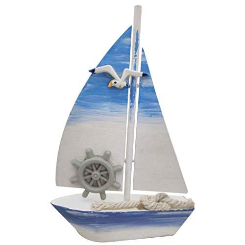 Garneck Mini decoración náutica barco de vela modelo barco de vela de madera con timón pájaros marinos hada jardín decoración mini paisaje