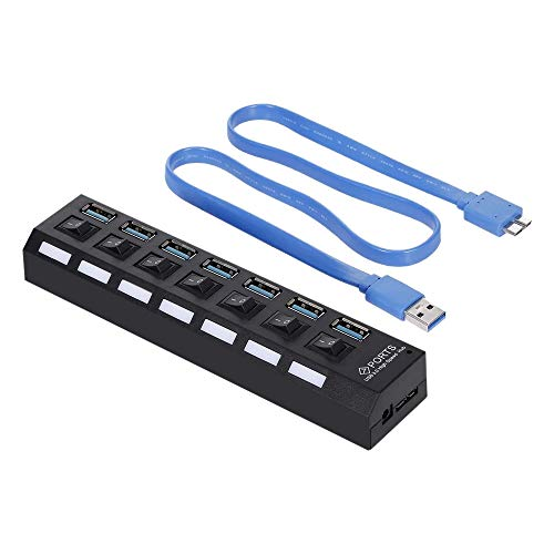cherrypop 7 puertos USB 3.0 HUB USB Splitter 7 puertos expansor con interruptor para PC