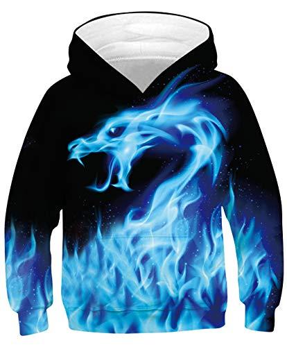 Goodstoworld 3D Kapuzenpullis Blaues Druck Hoodies Unisex Funny Kapuzenpullover Jungen Mädchen Kapuze Pullis Langarm Sweatshirt mit Taschen 8-11 Jahre