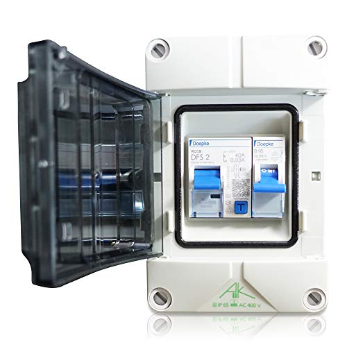 Anschlussfertiger Verteiler Stromanschluss für Camping, Garten und Garage mit FI Schalter 40A | 30mA sowie Leitungsschutzschalter B16A (Einbaugeräte Doepke)