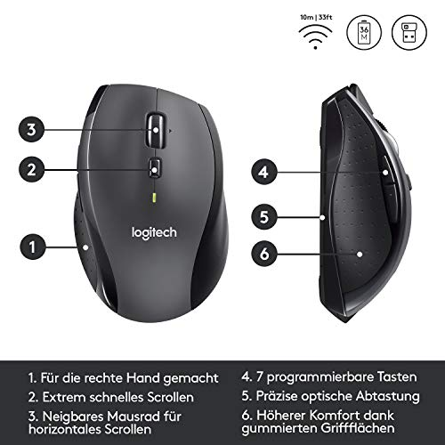 Logitech M705 Marathon Kabellose Maus, Umweltfreundliche-Verpackung, 2.4 GHz Verbindung via Unifying USB-Empfänger, 1000 DPI Laser-Sensor, 3-Jahre Akkulaufzeit, 7 Tasten, PC/Mac – Grau - 6
