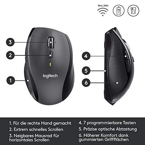 Logitech M705 Marathon Kabellose Maus, Umweltfreundliche-Verpackung, 2.4 GHz Verbindung via Unifying USB-Empfänger, 1000 DPI Laser-Sensor, 3-Jahre Akkulaufzeit, 7 Tasten, PC/Mac - Grau - 9