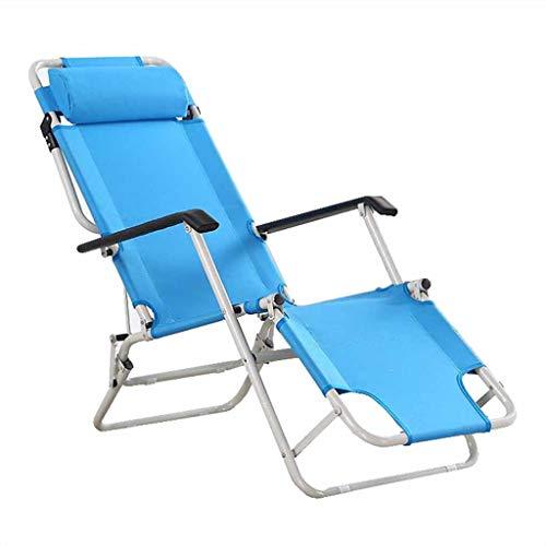Fauteuil inclinable Pliant Garden Beach Chaises Longues Zero Gravity Sun Loungers Fauteuil avec Repose-tête Portable Blue