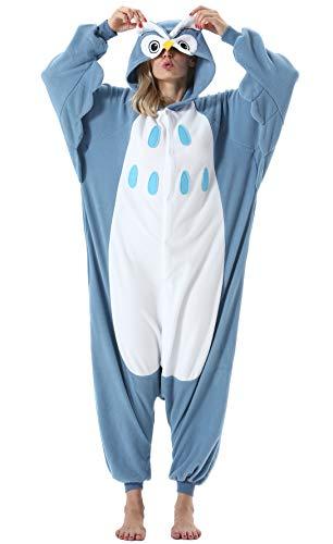 Damen Herren Jumpsuit Onesie Tier Fasching Halloween Kostüm Lounge Sleepsuit Cosplay Overall Pyjama Schlafanzug Erwachsene Unisex Eule for Höhe 140-187CM