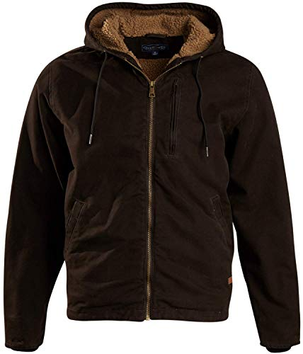 CHEROKEE Men's Workwear Outerwear – Duck Canvas Heavyweight Hooded Jacket, Size 2XL, Brown with Sherpa Lining'