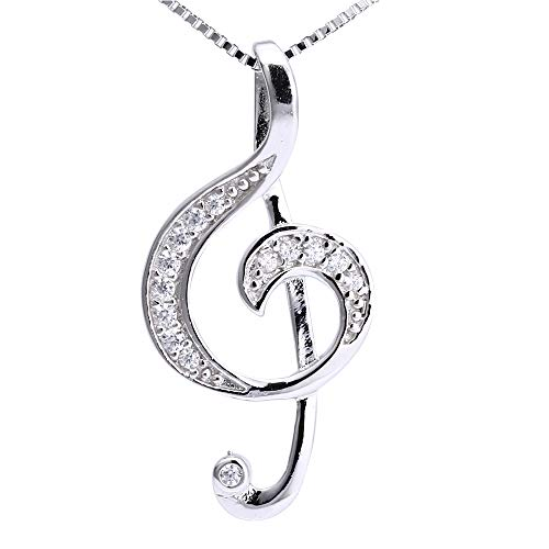 High Quality Solid Sterling Silver stone set Treble Clef Musical Pendant & 18' Sterling Silver Chain Necklace