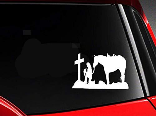 DKISEE Cowgirl knielen aan het kruis met paard auto Styling auto Decal, Vinyl Motorfiets Truck Auto Bumper Sticker Venster Spiegel Muursticker Laptop Decal, 6 Inch