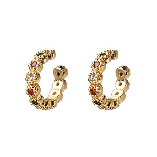 Aretes Elegantes Las Mujeres De La Marca Ear Cuffs Gold Skinny Rainbow Earrings Bar Classic Minimal Charming Silver Hoop Earrings505-Mt