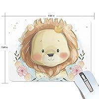 かわいい動物 ライオン マウスパッド 滑り止めゴム製裏面 おしゃれ 厚くした 事務用のマウスパッド 携帯用 25X19CM