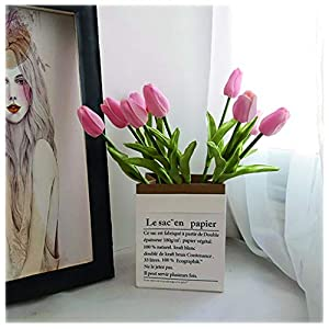 NYKK Decoration 10 Heads Artificial Tulips Flowers Real Touch Arrangement Bouquet for Home Room Party Wedding, Excellent Gift Idea for Mothers Day Table Centrepieces