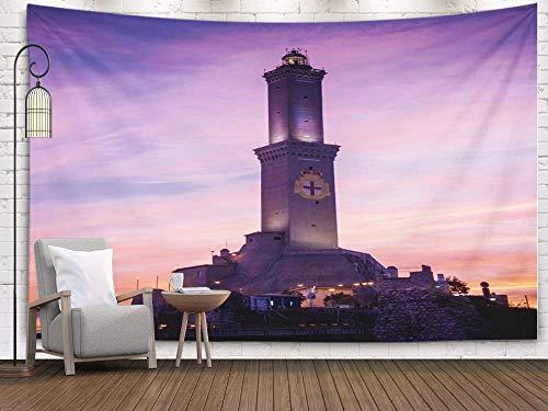Tapiz grande, tapiz de pared, arte casero de algodón para D & eacute; cor Sala de estar Dormitorio Genova Italia Impresionante puesta de sol Vista del faro de Lanterna Símbolo Ciudad Faros famosos