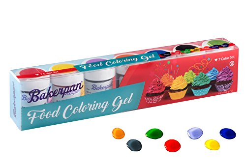 Bakerpan Food Coloring Gel Concentrate 1 Oz. Jars, For Icing, Decorating Cakes, Set of 7 Colors