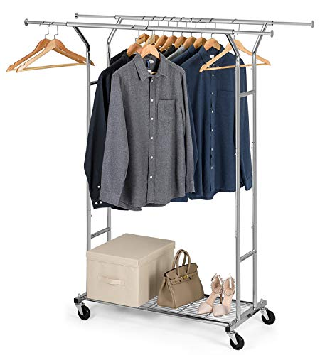 Bextsware Clothes Garment Rack On Wheels, Expandable Double Rails Heavy Duty Commercial Grade Hanging Clothes Organizer Stand Clothing Rack with Mesh Bottom Shelves for Boxes Shoes Storage, Chrome