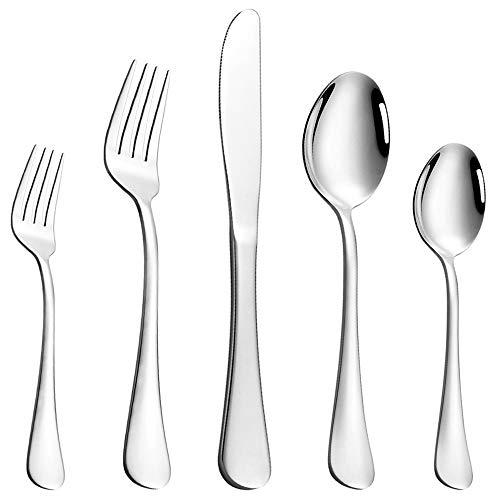 Silverware Flatware Set 60-Piece, Stainless Steel Silverware Service for 12, Eating Utensils Set, Cutlery Set, Tableware Set for Home, Restaurant, Dishwasher Safe