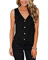 ZSIIBO Women's V Neck Front Tie Knot Button Up Tank Tops Casual Sleeveless Shirts Loose Vests BX02 (Black, M)