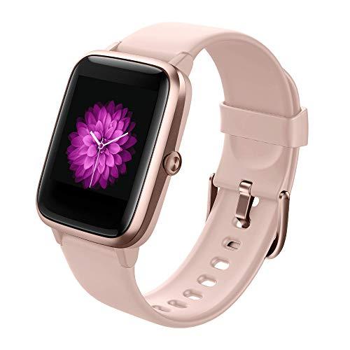 Smartwatch, Reloj Inteligente Impermeable IP68 con Monitor de Sueño Pulsómetro Podómetro Caloría GPS para Deporte, Smartwatch Reloj Inteligente Mujer Niños Despertador para Android iPhone-Rosa