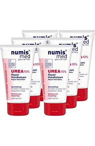 numis med Repair Handbalsam mit 10{3aac00fc86c8419c443b9623aaf53dce03debcbe4e76700409b1941cf7a3bb73} Urea - Hautpflege parfümfrei & vegan - Handcreme für sensible, zu Neurodermitis neigende & trockene Haut - Hand Creme im 6er Pack (6x 75 ml)