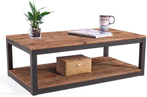 Best Care Royal Vintage Industrial Farmhouse 43.3 inches Coffee Table with Storage Shelf for Living Room,