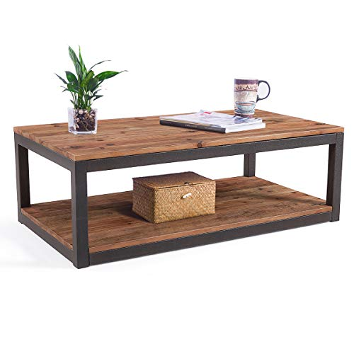Care Royal Vintage Industrial Farmhouse 43.3 inches Coffee Table with Storage Shelf for Living Room,...