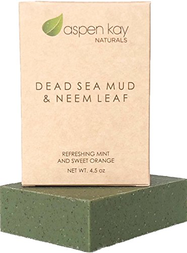 Dead Sea Mud and Neem Soap - 100% Natural and Organic Soap - Loaded with Organic Skin Loving Oils, Organic Neem, Dead Sea Mud and Pure Essential Oils. 4.5 4oz Bar.