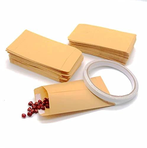 120PCS Carta Kraft Mini Busta portaconfetti per matrimonio,Bustine calendario dell'avvento,bustine in carta con Nastro Biadesivo ideali per confezionare piccoli bijoux,segnaposti,caramelle,sementi