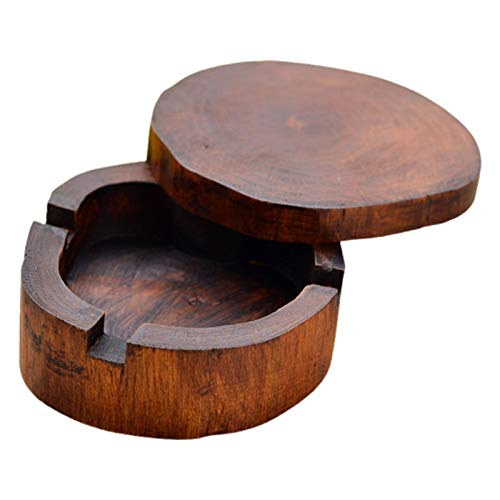ZZLLFF Vintage Natural Wood Carving Ashtray with Lid Detachable Simple Design Decorate (Color : 5)