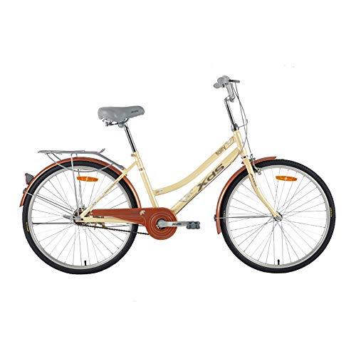 Bicicleta, Bicicleta de viaje cotidiano, Bicicleta de ocio de acero de alto carbono de una sola velocidad, para adultos y adolescentes, Rueda de 24 pulgadas, No es fácil de deformar o desvanecer