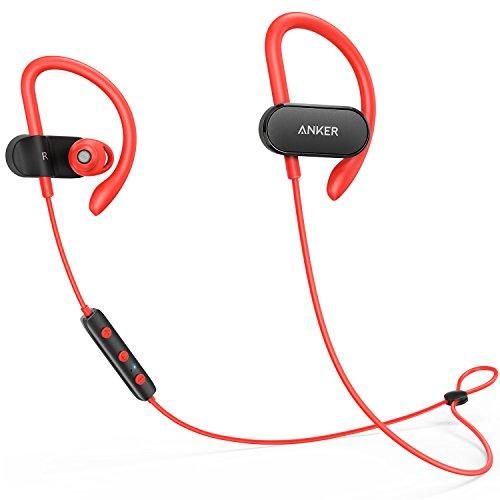 Anker SoundBuds Curve Bluetooth Kopfhörer Bluetooth 4.1 Sport Kopfhörer mit Ohrbügeln/Wasserschutzklasse IPX5/14-Stunden-Spielzeit/CVC Lärmreduzierung/Mikrofon/Etui, Lauf-Training Headset(Rot)