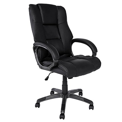 Homdox Office Chair, Ergonomic Executive Office Chair with Wheels High Back PU Leather Office Task Chair Desk Chair Black