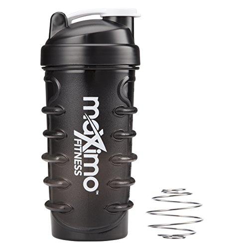 Maximo Fitness - Botella para Batidos de Proteínas/Botella para Granizados o Batidos de Frutas/Botella de Agua - 650 ml - Exclusivo Diseño 'Cordón de Zapato' para Sujeción Extra - Contiene una Bolita Mezcladora - Garantía de Por Vida.