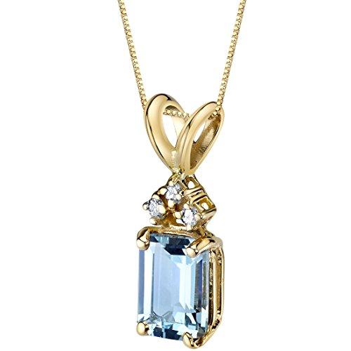 14 Karat Yellow Gold Emerald Cut 1.00 Carats Aquamarine Diamond Pendant