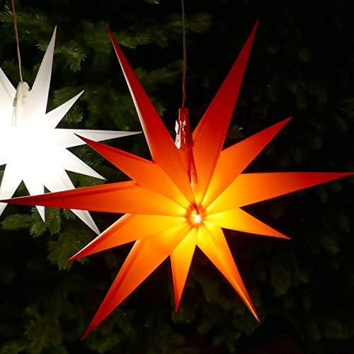 Weihnachtsstern rot Ø 50 cm mit 11 Zacken LED-Birne beleuchtet 7 m Zuleitung Strom