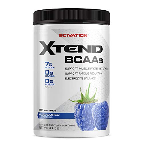 Scivation Xtend Original BCAA Powder, 7g BCAAs, Branched Chain Amino Acids, Zero Sugar Electrolyte Drink + Hydration, Keto Friendly, Blue Raspberry, 30 Servings