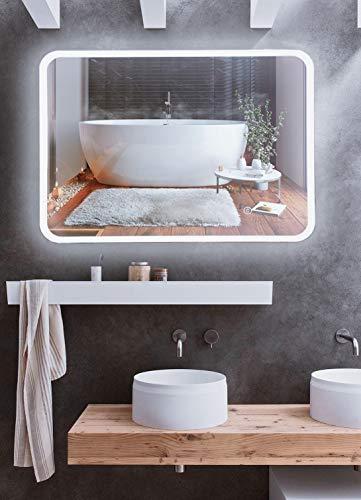 Mr.Claymore,badspiegel mit Beleuchtung, 50x70cm,badezimmerspiegel mit Beleuchtung, Wandspiegel mit Touch Schalter,Spiegel mit Beleuchtung,großer Spiegel,led Spiegel,Bathroom Mirror,Energieklasse A+