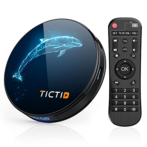 TICTID Android TV Box 10.0 4G RAM +32G ROM, D1 Plus RK3318 Quad-Core 64bit WiFi-Dual 5G/2.4G+100M,BT 4.0, 4K*2K con Función 3D, USB 3.0 Smart TV Box