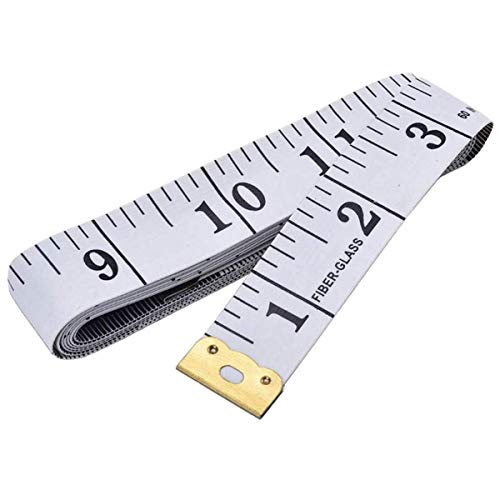 Metro flessibile a doppio lato per misurazioni di sartoria e cucito e per misurare con sistema metrico e in pollici, 150 cm di lunghezza, colore: bianco con numeri neri