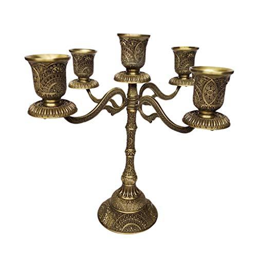 LOVIVER Vintage Kerzenleuchter Kerzenhalter Kerzenständer Stabkerze Kandelaber Leuchter - 5-armig Bronze