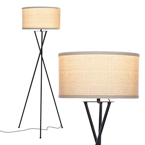 Brightech Jaxon - Mid Century Modern Tripod Floor Lamp for Living Room - Standing Light with Contemporary Drum Shade Matches Bedroom Decor, Gets Compliments - Tall Black Lamp with LED Bulb